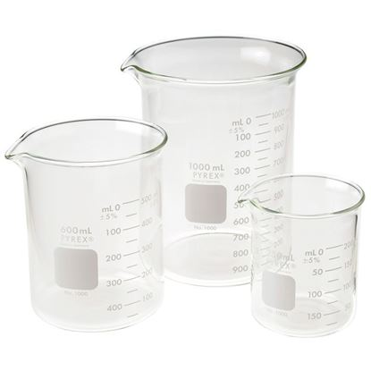 BEAKERS, GRIFFIN, LOW FORM, DOUBLE SCALE, GRADUATED, PYREX®