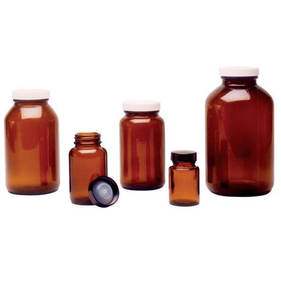 BOTTLES, AMBER GLASS, WIDE MOUTHS, BULK PACKS
