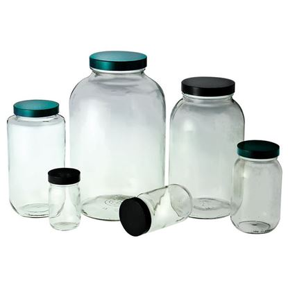 BOTTLES, WIDE MOUTHS, CLEAR