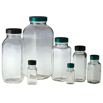 BOTTLES, SQUARE, WIDE MOUTHS, CLEAR