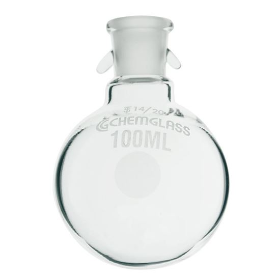 FLASKS, HEAVY WALL, ROUND BOTTOM, SINGLE NECK WITH HOOKS