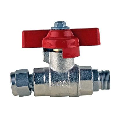 M16 STAINLESS STEEL BALL VALVE, RED HANDLE, HUBER CIRCULATOR FITTINGS