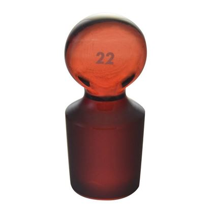 STOPPERS, PENNY HEAD, SOLID, FLASK LENGTH, LOW ACTINIC RED STAIN