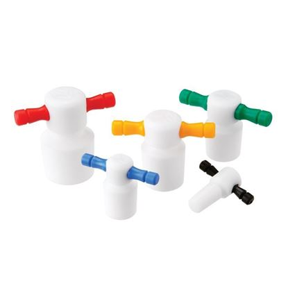 STOPPERS, FLASK LENGTH, PTFE, COLOR CODED