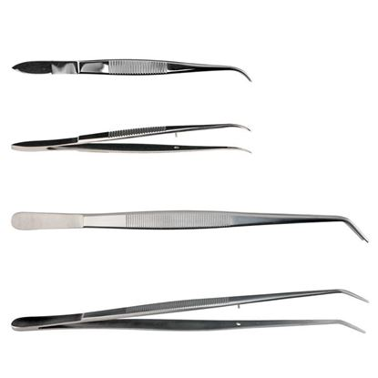 FORCEPS, TWEEZERS, STAINLESS STEEL, DISSECTING, CURVED, SERRATED TIPS