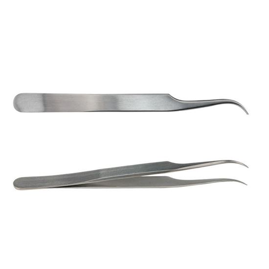 FORCEPS, TWEEZERS, STAINLESS STEEL, CURVED, FINE POINTS