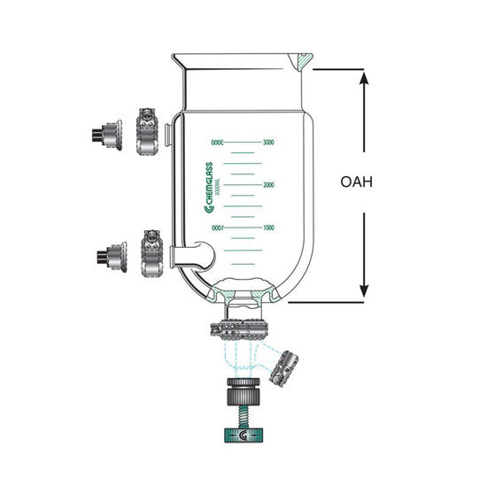 REACTION VESSELS, JACKETED, BENCHTOP, DETACHABLE DRAIN VALVES