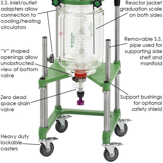 20L PROCESS REACTORS, CYLINDRICAL, JACKETED, ELECTRIC OR AIR MOTOR