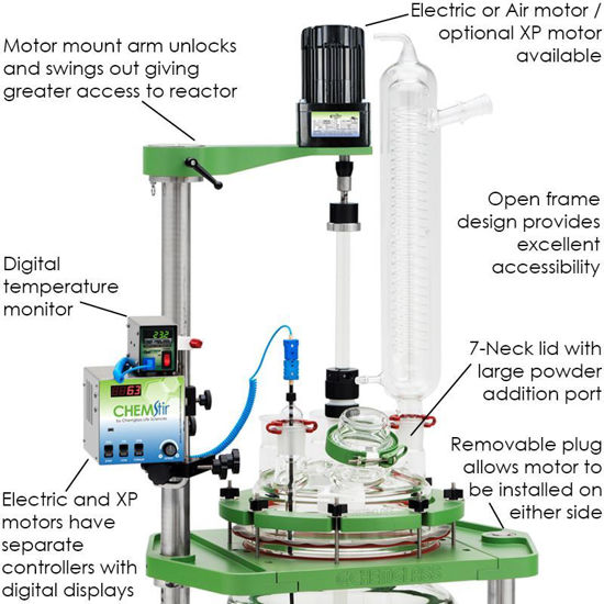 50L PROCESS REACTORS, CYLINDRICAL, JACKETED, SQUATTY, ELECTRIC OR AIR MOTOR