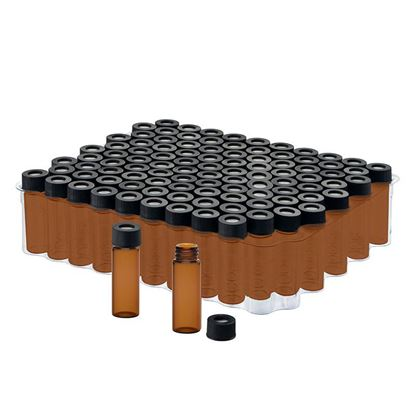 KITS, PREASSEMBLED LARGE OPENING SCREW THREAD VIALS AND CLOSURES, AMBER