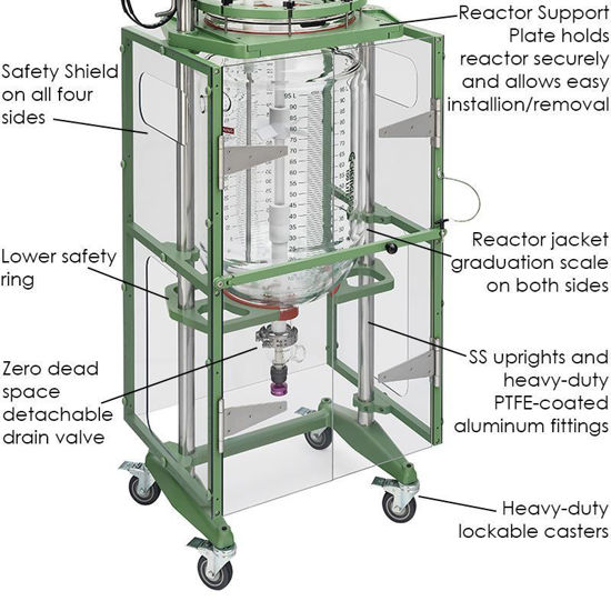 100L PROCESS REACTOR SYSTEM, SQUATTY, CYLINDRICAL, JACKETED, GLASS, 400MM FLANGE, BRUSHLESS DC ELECTRIC MOTOR
