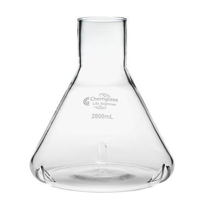 CLS-2022-14; Flask, Fernbach, 2800mL, Plain 59mm ID Top, 3 Side Baffles