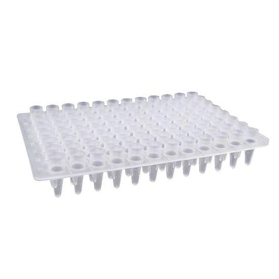 0.2ML 96 WELL PCR PLATE, NO SKIRT, CLEAR, ELAVATED WELLS, H12 NOTCH, NEST