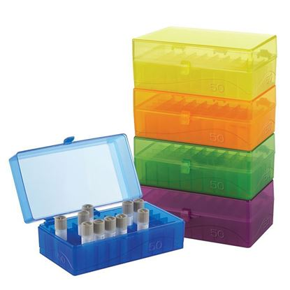 MICROTUBE STORAGE BOX, HINGED, ASSORTED COLORS, 50-WELL
