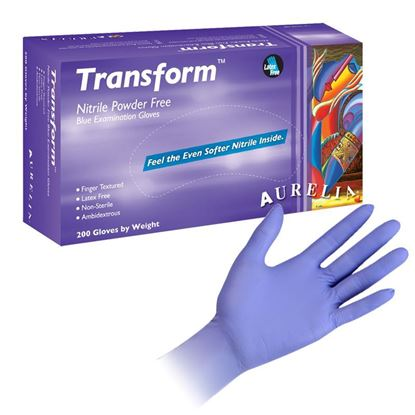 GLOVES, NITRILE, EXAMINATION, TRANSFORM, TRANS-BLUE