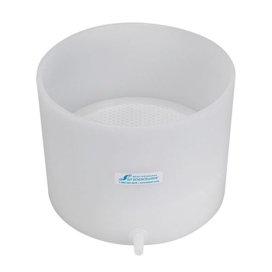 BUCHNER FUNNELS, TABLE TOP, POLYETHYLENE, PERFORATED, 10.25 INCH FUNNEL ID, FIXED OR REMOVABLE PLATES