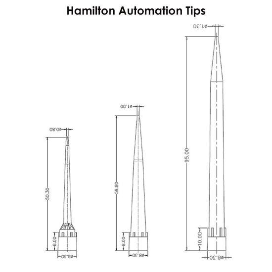 AUTOMATION CONDUCTIVE TIPS, FILTER TIPS, FOR HAMILTON, PRE-STERILIZED, NEST