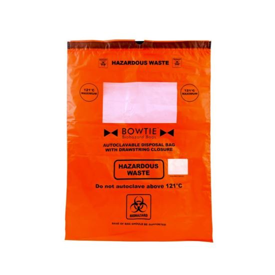 BOWTIE BIOHAZARD AUTOCLAVE BAG, WITH DRAWSTRING, LARGE MARKING AREA AND STERILIZATION INDICATOR